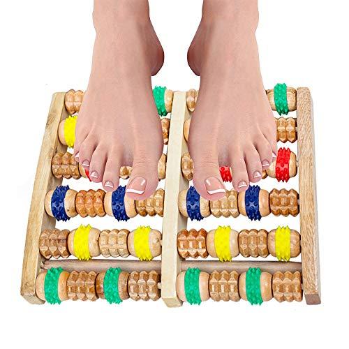 Rullo massaggiatore a doppio piede, massaggiatore a doppio piede in legno e rullo per rilassarsi, allevia il dolore al piede e la fascite plantare
