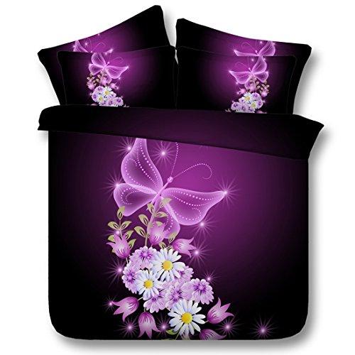 Housse de Couette en Polyester Starlight Butterfly Pattern Double Taille Facile à soigner Housse de Couette et taies d'oreiller Ensemble, 150 * 200