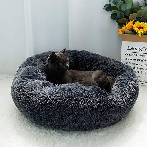 OYANTEN 猫 ベッド 犬 ベッド クッション 夏 冷房対策 ラウンド型 もふもふ 丸型 ドーナツふわふわ もこもこ ぐっすり眠る 滑り止め 洗える キャット 猫用 小型犬用 ペット用品(ダークグレー)