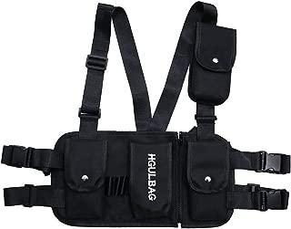 VOCUS Fashion Chest Front Bag Pouch Multipurpose Sport Backpack Daypack Nylon Tactical Chest Rig for Men Women (A-Black)