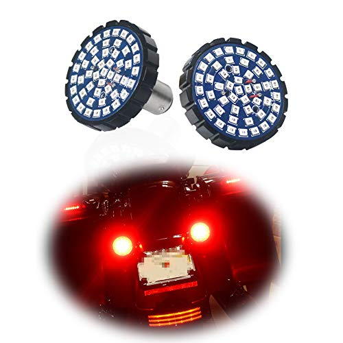 TurningMax 2-Inch Red LED 1157 Turn Signals Brake Light For Motorcycles Harley Davidson, Can-bus No Hyper Flash No Resistor Required Replacements