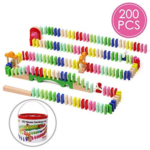 Lewo 200 Stück Hölzern Domino Set Klassisch Rennen Spiele Gebäude Blöcke
