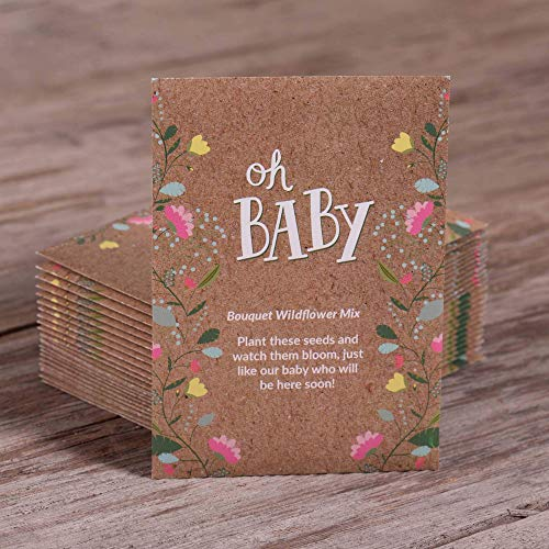 Oh Baby Seed Packets | Girl or Boy Baby Shower Favors for Guests | 25 Wildflower Seed Packets | Pre-Filled | Bouquet Wildflower Mix | Non-GMO Seeds | Gender Neutral | Eco-Friendly Gift