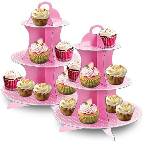 JINLE 2 Pezzi Alzata per Cupcake Cartone 3 Piani, USA e Getta Pois Rosa Supporto per Dessert Torte per Baby Shower, Compleanni, Feste