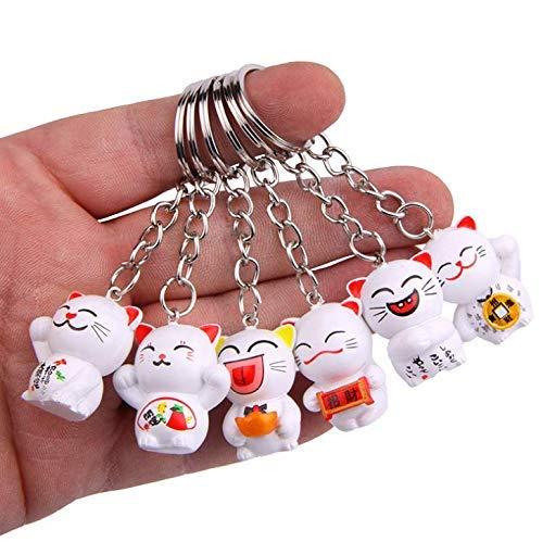 Gwill 6 emballer un ensemble aléatoire porte-clés porte-clés chat japonais chanceux, Fengshui...