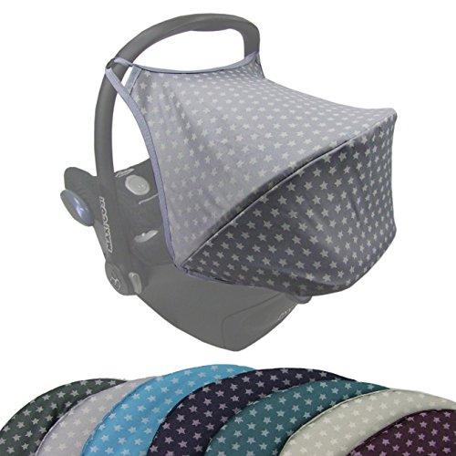 BAMBINIWELT Sonnenverdeck UV50+ für Maxi-Cosi Cabriofix, Sonnendach Babyschale, Autositz STERNE (hellgrau Sterne) XX