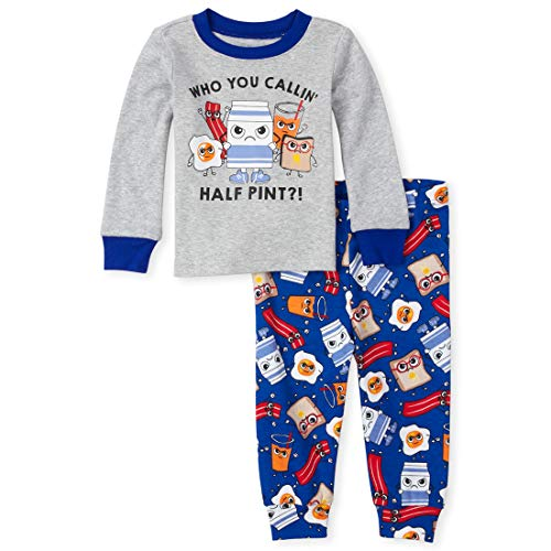 The Children's Place Baby Boys Two Piece Pajama Set, Heather/T Lunar, 0-3MONTHS