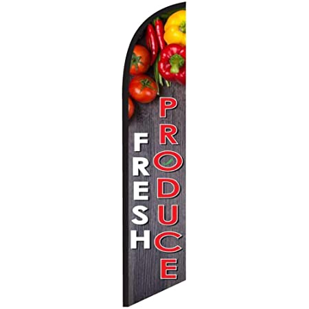 Amazon Com Fresh Produce Market Advertising Feather Banner Swooper Flag Sign With Flag Pole Kit And Ground Stake Garden Outdoor