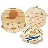 boîtes de dents de bébé de Organisateur, boîte de dents souvenir en bois pour bébé, boîte de dent de lait pour enfants/Cordon ombilical/Lanugo boîte pour garçons filles