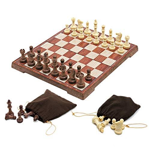 Conjuntos de juegos portátiles viaje Tablero de ajedrez Juego de ajedrez magnético mejorado Torneo Juego de tablero de ajedrez de madera Staunton Con piezas de ajedrez hechas a mano y ranuras de almac