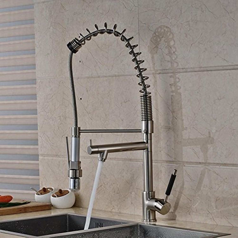 AllureFeng 75cm LED schwenkbaren Auslauf Küche Waschbecken Wasserhahn, einzigen Handgriff herausziehen Mischer Wasserhahn Nickel gebürstet fertig gestellt