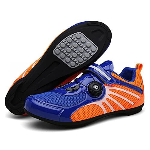 DSMGLSBB Zapatillas De Ciclismo para Hombres, Zapatos para Bicicletas Deportivos Al Aire Libre,Azul,36