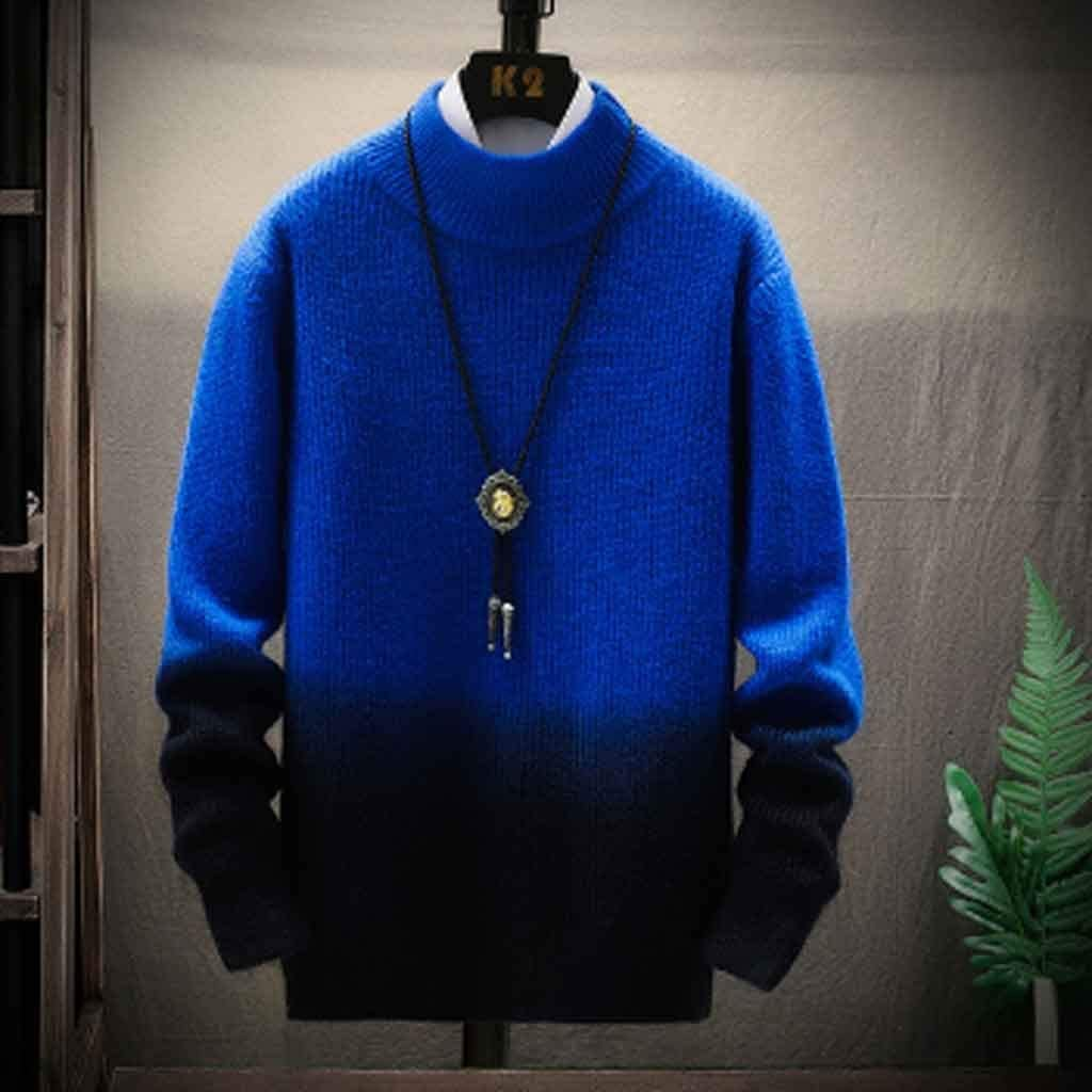 ZYING Christmas Sweater Men Clothes Winter Thick Warm Mens Sweaters Casual Classic Turtleneck Cashmere Pullover Men (Color : Style 1)