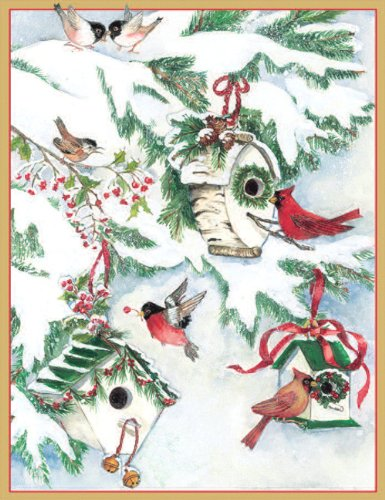 Entertaining with Caspari Bird Houses in Snow Christmas Cards with Unlined Envelopes, Box of 16