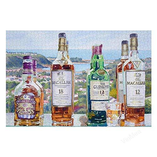Blanriguelo 1000 pcs Puzzle Puzzle Rompecabezas de Botella de Whisky Batquto Carlbad con Papel * educativos para niños decoración del hogar