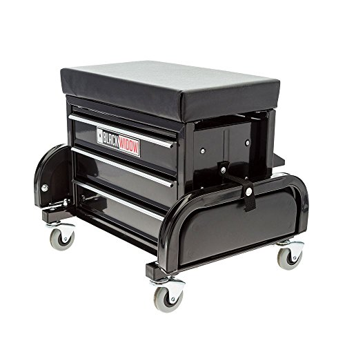 Black Widow Toolbox Creeper Seat with Drawers