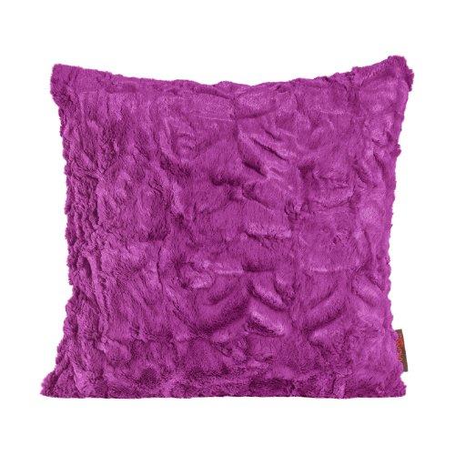 MAGMA Fluffy Kissenhülle ca. 50x50 cm kuschelweicher Kissenbezug Dekokissen in Felloptik Farbe: Lila