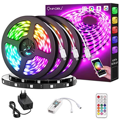 Onforu 15M RGB Tira LED Wifi, Tira Inteligente Compatible con Alexa, Google Home, LED Tira Luz Sincronización de Música,Perfecto para Navidad, Fiesta, Decoración Doméstico para Hogar,Cocina