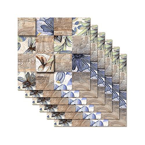 Hiser Rectángulo Adhesivos Decorativos Azulejos Pegatinas para Baldosas del Baño, Mármol 3D Mosaico Estilo Cocina Resistente al Agua Pegatina de Pared, 20x20cm (Estampado de Flores)
