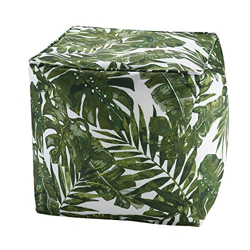 Madison Park Printed Palm 3M Scotchgard Outdoor Pouf Green/18x18x18