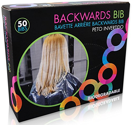 Framar Backwards Bib Disposable Capes Salon, Protects Clients, Salon Chair & Salon Cape from Hair Dye, Disposable salon capes for clients, Barber Cape & Hair Cutting Cape – 50 bibs