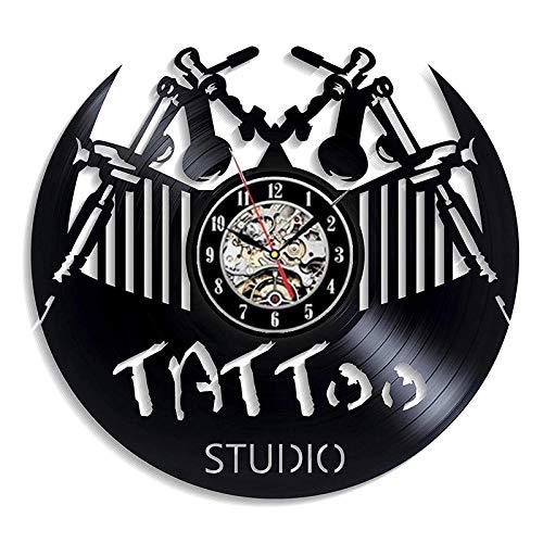 qweqweq Tattoo Studio Vinyl Record Wall Modern Design Tattoo Salon Shop Wall Sign 3D Decoration Vinyl Clock Wall Clock Home Decor