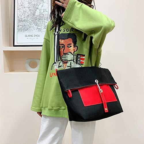 Bolsa de lona para mujer de empalme grande Crossbody Bag individual ajustable correa de hombro de gran capacidad bolsa de la compra
