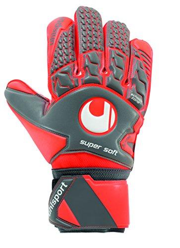 uhlsport Torwarthandschuhe AERORED-Supersoft-In den Größen 6-11 Innenhand Keeper-Handschuhe entwickelt mit Profis-Optimaler Halt und Grip, langlebig, Dark grau/Fluo rot/Weiß, 11