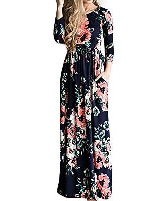 YUMDO Women's 3/4 Sleeve Floral Dress Casual Stretch Maxi Long Dresses