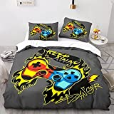 LHNGOD Playstation Queen Comforter Set Cool Color Flame Graffiti 3D Gamepad Duvet Cover 3 Pieces Microfiber Soft Buttons Video Game Bedding for Teen Child Kids Boys Girls Game Room Decor 90x90in