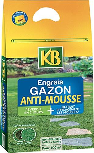 KB Engrais Gazon ET Anti-MOUSSES REVERDIT en 7 Jours 3,5kg GAM100M