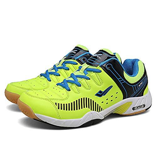 Hombres Y Mujeres Zapatos De Tenis De Mesa, Bádminton Y Transpirable Zapatos Antideslizante Ping-Pong Zapatos Atléticos De Las Zapatillas De Deporte Deportes Cómodas Frontenis Zapatos,Verde,44