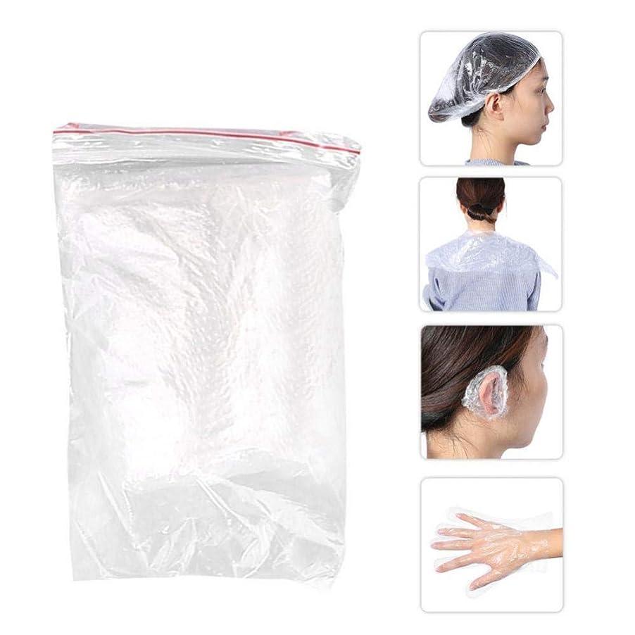 調整する規定中断美容用品毛染めツール ショールイヤーマフ手袋シャワーキャップ10セット使い捨てサロン シャワーキャップ耳カバー手袋