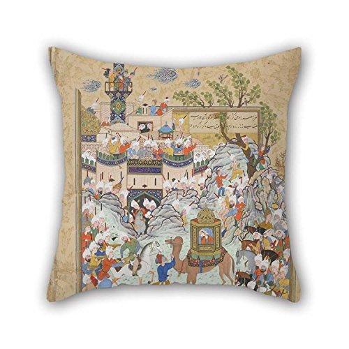 NA Funda de Almohada de Pintura al óleo Jami - Folio from A Haft Awrang (Seven Thrones), Verso For Festival Monther Lounge Pub Home Coffee House (Lados Gemelos)