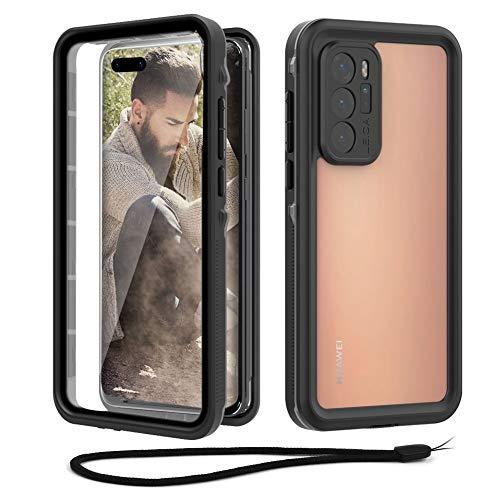 Beeasy Outdoor Hülle Kompatibel mit Huawei P40 Pro 5G,IP68 Zertifiziert wasserdichte Handyhülle,360 Grad Schutzhülle mit Eingebautem Bildschirmschutz,Staubdicht Schneefest Stoßfest Cover Hülle,Schwarz