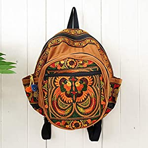 Changnoi Fair Trade Backpack with Orange Bird Embroidery Handmade in Thailand