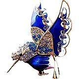 翼を広げて高く飛ぶ 新アクセサリー服アクセサリー、かわいい飛鳥、喜鳥の洋服のブローチ、女性の高級鳥のブローチ (Blue)