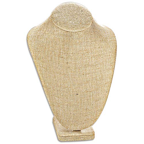 Ikee Design Linen Jewelry Necklace Display Bust 6 3/8' W x 4 1/2' D x 10 1/4' H