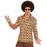 Estilizada camisa retro años 70 para caballero - Rosa-amarillo S/M (ES 48/50) - Extravagante outfit para hombre movimiento groovy camisa manga larga vintage - El punto alto para festival y carnaval