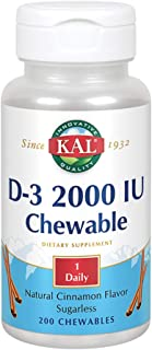 KAL D-3 2000 IU Sugarless Chewable Cinnamon, 200 Count