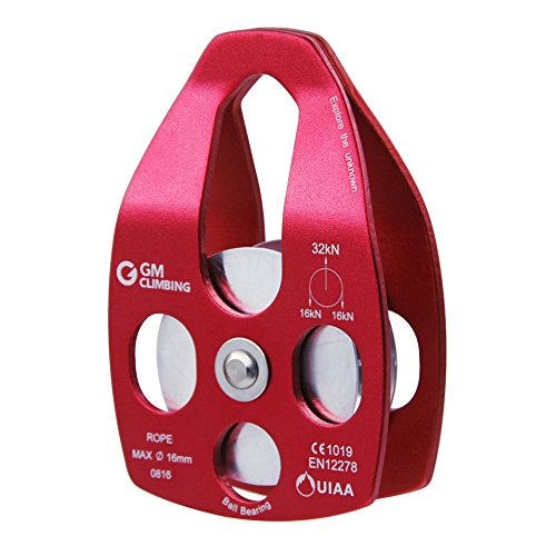 GM CLIMBING 32kN Large Rescue Pulley Single/Double Sheave with Swing Plate (Red - Single Pulley)