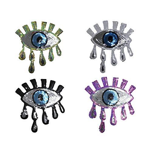 4 Stück große blaue Augen zum Aufbügeln oder Aufnähen auf blaue Pailletten, bestickt, Pailletten, Glitzer, Punk-Patches für Kleidung, Jeans, T-Shirts DIY (Silber, Gold, Lila, Schwarz)