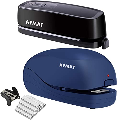 high quality AFMAT online Electric Three Hole Punch Heavy Duty, 20-Sheets Capacity, outlet sale AC or Battery Operated Puncher and Heavy Duty Electric Stapler, 2 Full Strips, 25 Sheets Capacity, AC or Battery Powered Stapler sale