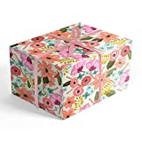 Romantic Pastel Floral Folded Wrapping Paper, 2 feet x 10 feet Folded gift wrap with dainty flowers