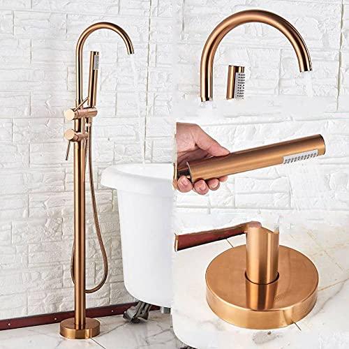 RWJFH Sistema de Ducha Juego de grifos de bañera Independiente, Grifo Mezclador de baño de pie, Grifo de bañera Negro de Doble manija para grifos de baño, Cepillo de Oro Rosa