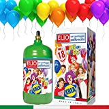 KREA Bombona de gas helio para inflar globos con 18 globos de látex italiano incluidos de regalo