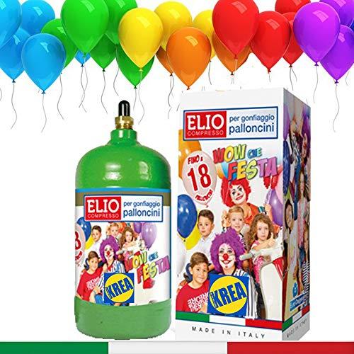 KREA BOMBOLA di Gas Elio per GONFIARE Palloncini con 18 Palloncini Lattice Italiano Inclusi in Omaggio
