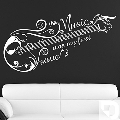 DESIGNSCAPE® Wandtattoo Music Love Ornament, Music was my first love, Gitarre 180 x 93 cm (Breite x Höhe) weiss DW807114-L-F5