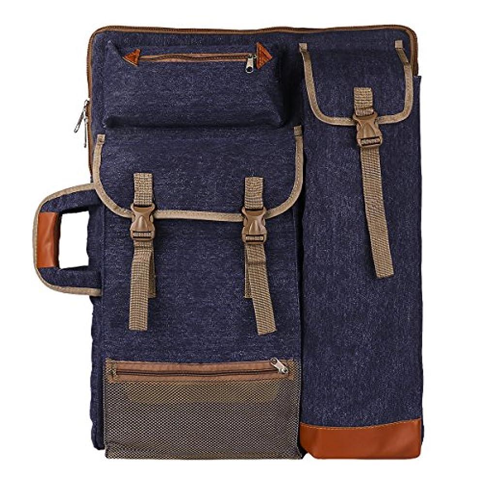 "Transon Art Portfolio Case Artist Backpack Canvas Bag Large 26"" x 19.5"" Navy Blue"