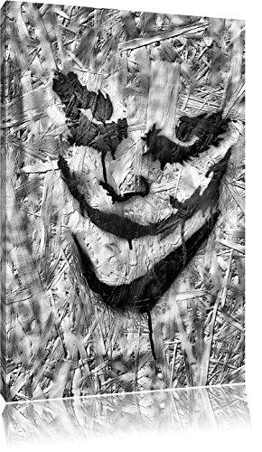 Pixxprint Böser Clown Gesicht als Leinwandbild | Größe: 120x80 cm | Wandbild| Kunstdruck | fertig bespannt